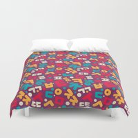 korean Duvet Covers featuring Korean alphabet pattern by Sudjino