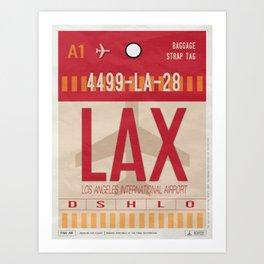 Vintage Los Angeles Luggage Tag Poster Art Print