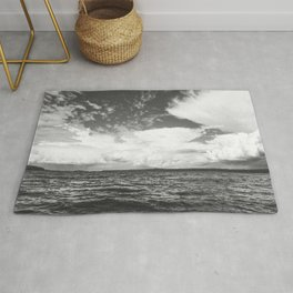Black And White Lake Landscape - White Cumulus Clouds - Scandinavia #decor #society6 #buyart Rug