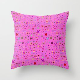 Numerous colorful butterflies on a neutral background Throw Pillow