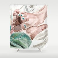 lebowski Shower Curtains featuring Bunny Lebowski by Gregory Nordquist