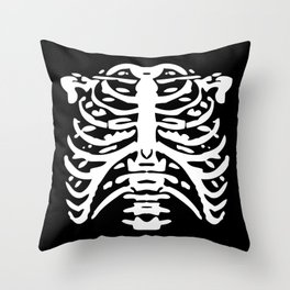 Human Rib Cage Pattern Black and White 2 Throw Pillow