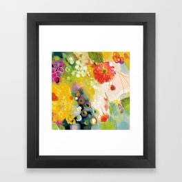 abstract floral art in yellow green and rose magenta colors Framed Art Print