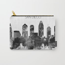 Black and white watercolor San Diego skyline Carry-All Pouch