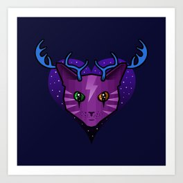 Purple Space Cat (Antlers) Art Print