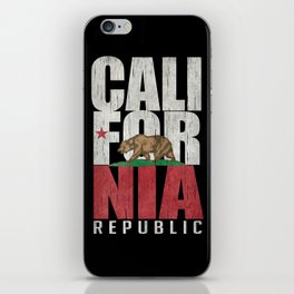 Cali Bear Flag with deep distressed textures iPhone Skin