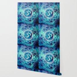 Galaxy Om Mandala Aqua Midnight Blue Wallpaper