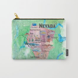 USA Nevada State Illustrated Travel Poster Favorite Map Carry-All Pouch