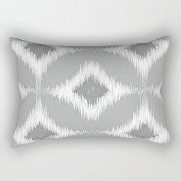Elegant White Gray Retro Circles Squares Ikat Pattern Rectangular Pillow
