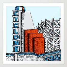 Cyclone Coaster (Lakeside Amusement Park) Art Print