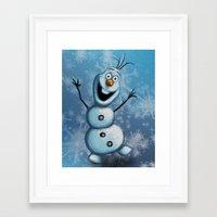 olaf Framed Art Prints featuring Olaf by MandiMccl