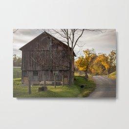 Red Barn, Country Road Metal Print
