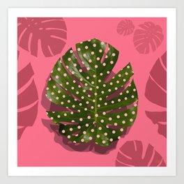 """""""Moss green leaf and pink flamenco polka dots"""" Art Print"""