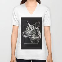 german shepherd V-neck T-shirts featuring German Shepherd by Ashley Anderson