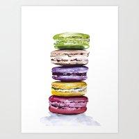 macarons Art Prints featuring Macarons by Bridget Davidson