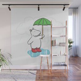 Red Wellies - Rainy day hippo illustration Wall Mural