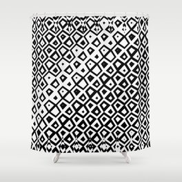 Asymmetry collection: black and white geometry Shower Curtain