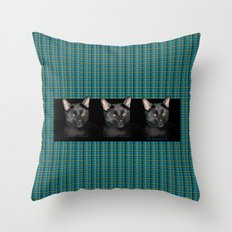 Three black Cats on Plaid Background Throw Pillow