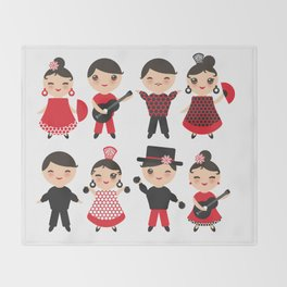 Spanish flamenco dancer. Kawaii cute face with pink cheeks and winking eyes. Gipsy Throw Blanket
