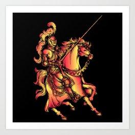 Bronze Figure Art Design Bronze Rider With Horse Art Print