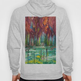 Red Trees Thick Impasto Abstract  Painting Hoody