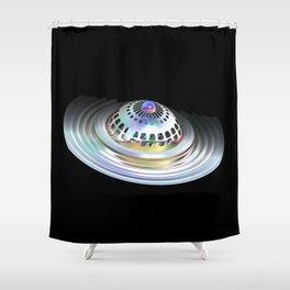 Fractal Flying Saucer Shower Curtain