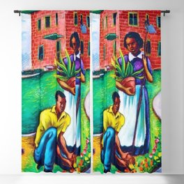 "African American Classical Masterpiece ""The Results of Good Housing"" by Hale Woodruff Blackout Curtain"