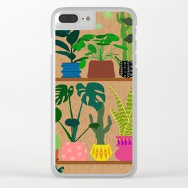 Plants on the Shelf in Warm Wood Clear iPhone Case