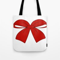 bow Tote Bags featuring bow by  MuDi