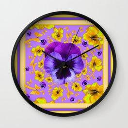 PANSIES YELLOW BUTTERFLIES & FLOWERS GARDEN Wall Clock