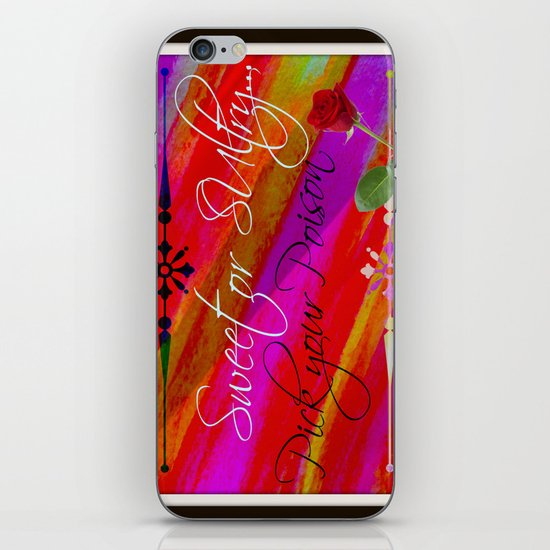 Sweet or Sultry - Sexy Crimson Red Valentine's Day Stripes Typography Abstract Watercolor Painting iPhone & iPod Skin