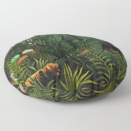 Jungle with Tiger and Hunters by Henri Rousseau Floor Pillow