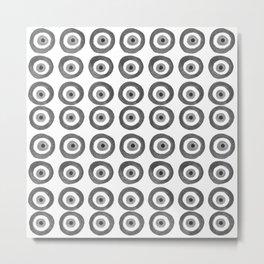 Evil Eye Amulet Talisman Black White Gray on white Metal Print