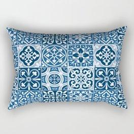 Classic Blue Tiles Rectangular Pillow