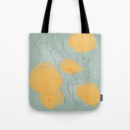 California Poppies in Gray Tote Bag