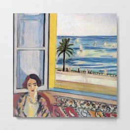 Seated Woman, Back Turned to the Open Window of Ocean & Seaside by Henri Matisse Metal Print