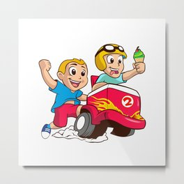 Two children and the ice cream cart Metal Print