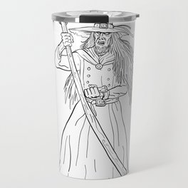Ankou Graveyard Watcher With Scythe Drawing Black and White Travel Mug