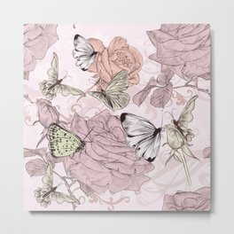 Victorian style classic pattern with butterflies and roses Metal Print