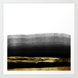 Black & Gold Stripes on White - Mix & Match with Simplicty of life Art Print