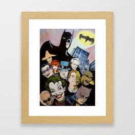 Bat man, Superhero , retro, Joker, painting, comic,  Framed Art Print