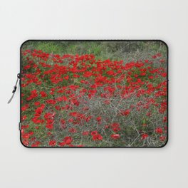 Beautiful Red Wild Anemone Flowers In A Spring Field  Laptop Sleeve