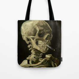 Skull of a Skeleton with Burning Cigarette - Van Gogh Tote Bag