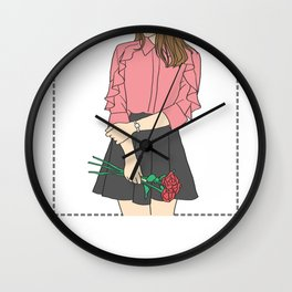 OOTD With Flowers Wall Clock