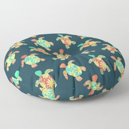 Cute Flower Child Hippy Turtles Floor Pillow