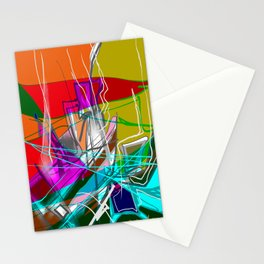 Orange and green abstract Stationery Cards
