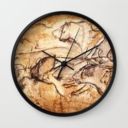 Panel of Lions // Chauvet Cave Wall Clock