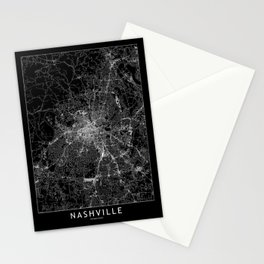 Nashville Black Map Stationery Cards