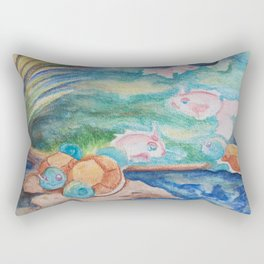 Pond With Squirtle And Goldeen Rectangular Pillow
