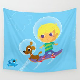 hover boarding future boy Wall Tapestry